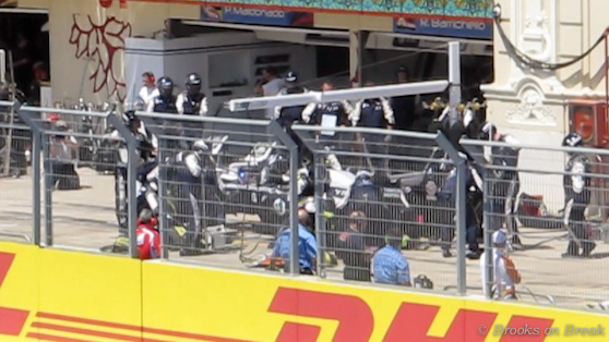 Formula One Pit Stop during the Valencia Street Circuit