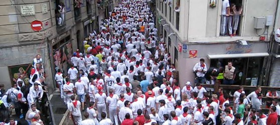 Short time lapse video from the Running of the Bulls during the Festival of San Fermin in Pamplona, Spain in July 2011